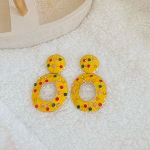 80's 90's Yellow Color  Earrings